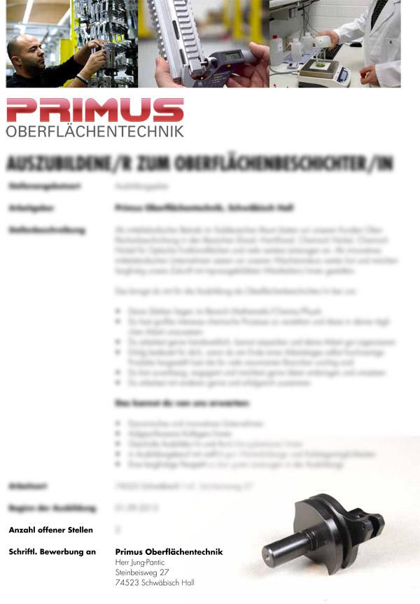 Primus Oberflächentechnik Bewerbungsaushang Mitarbeitersuche